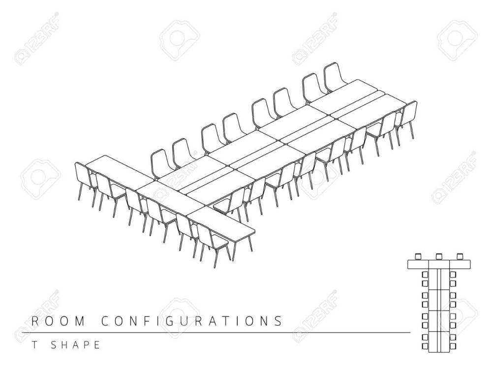 medium resolution of meeting room setup layout configuration t shape style perspective 3d with top view illustration outline