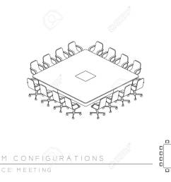 meeting room setup layout configuration conference square boardroom style perspective 3d isometric with top view [ 1300 x 975 Pixel ]