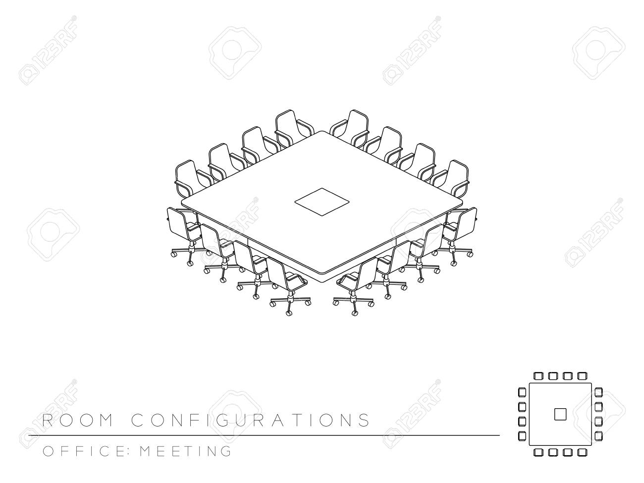 hight resolution of meeting room setup layout configuration conference square boardroom style perspective 3d isometric with top view