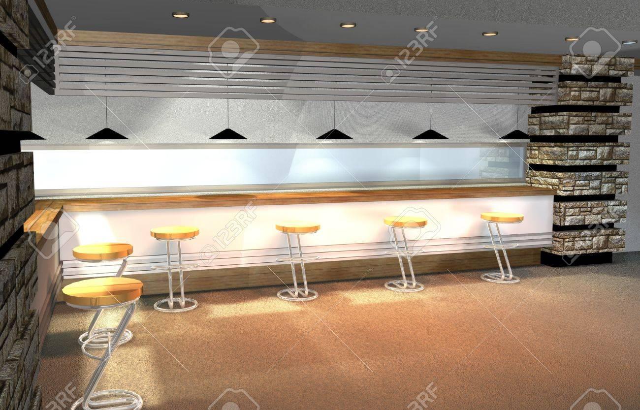 3d render of modern house interior mini bar as detail