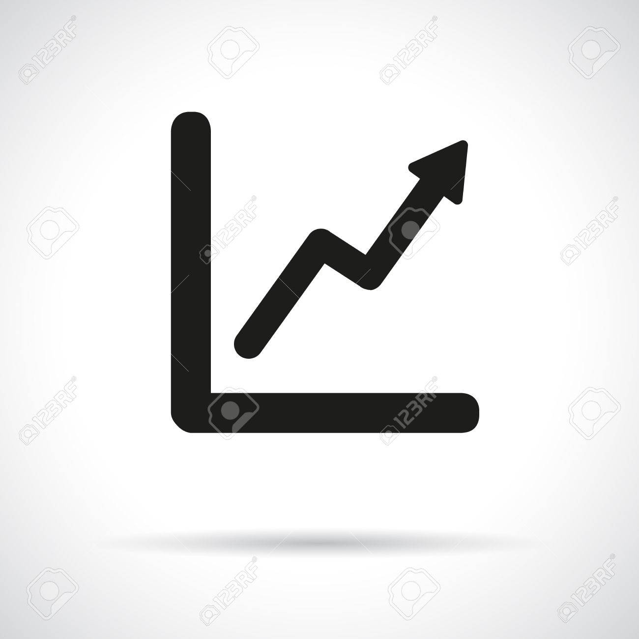 hight resolution of graph diagram black flat icon with shadow growth and success concept stock