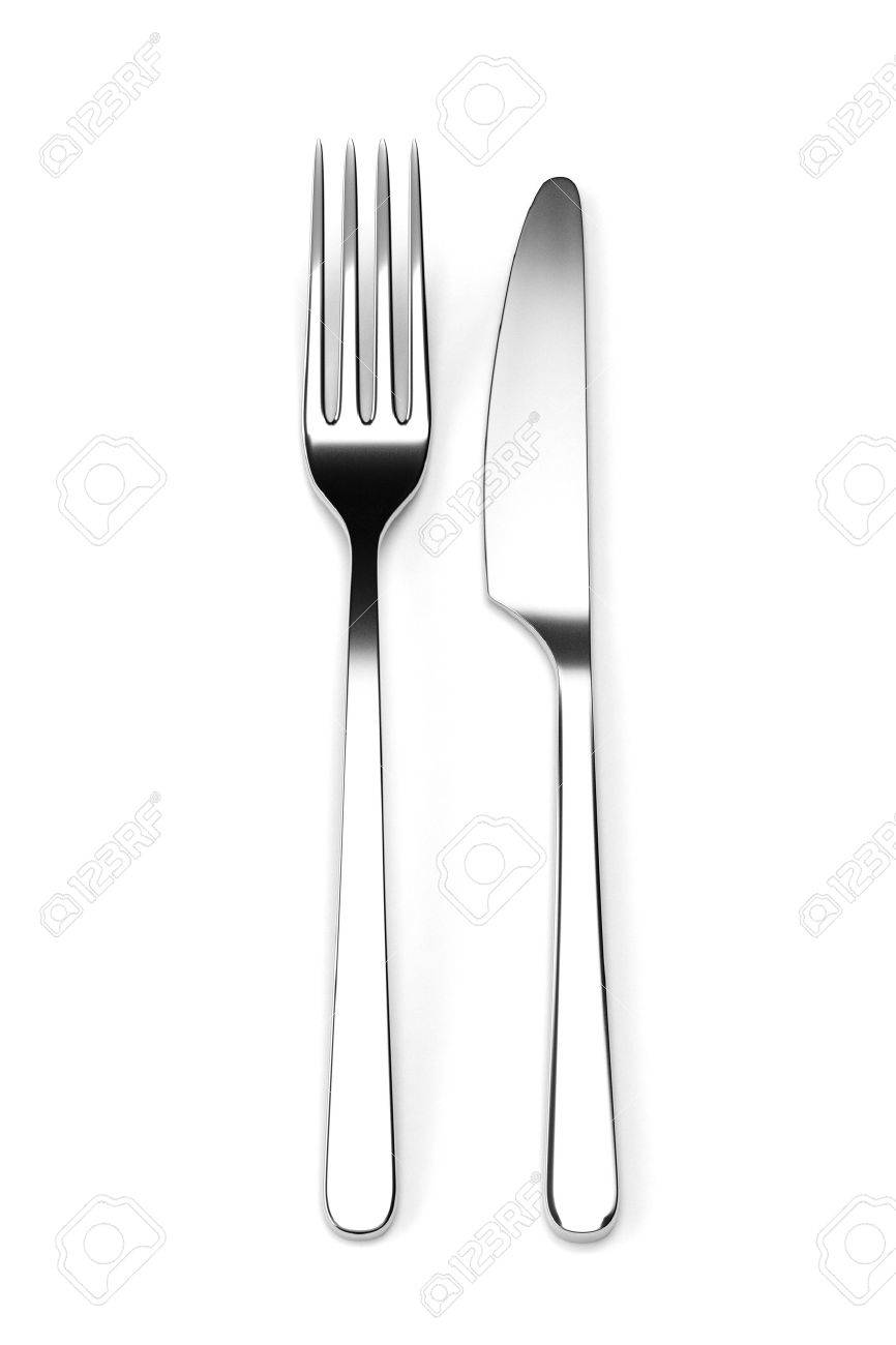 kitchen fork win makeover and knife isolated on white background photo realistic stock 3d illustration cutlery