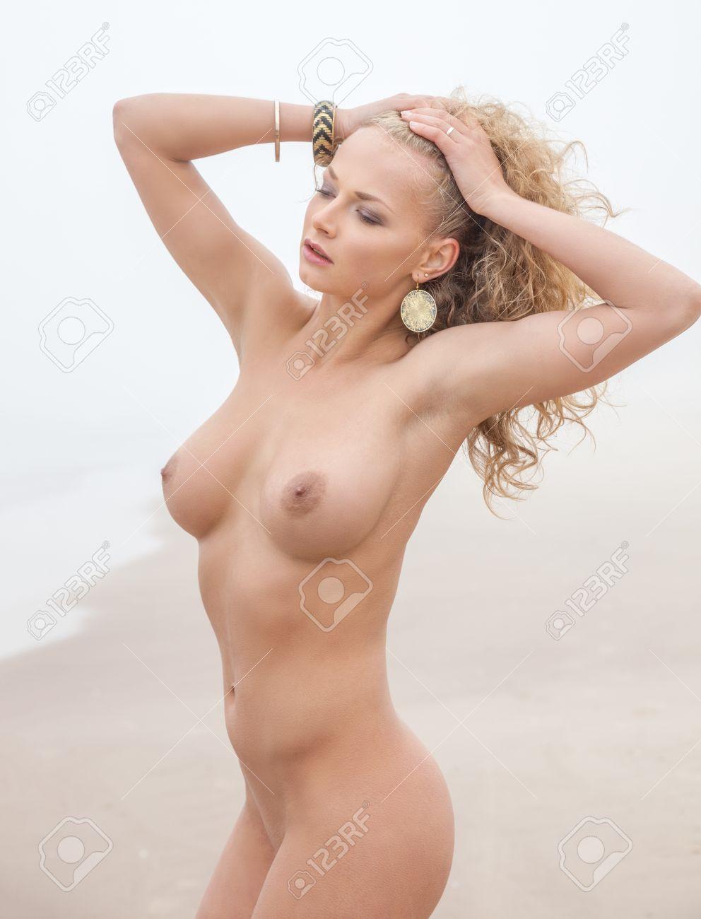 Beautiful Nude Woman Posing On Sea Beach In Foggy Day Stock Photo 23834172