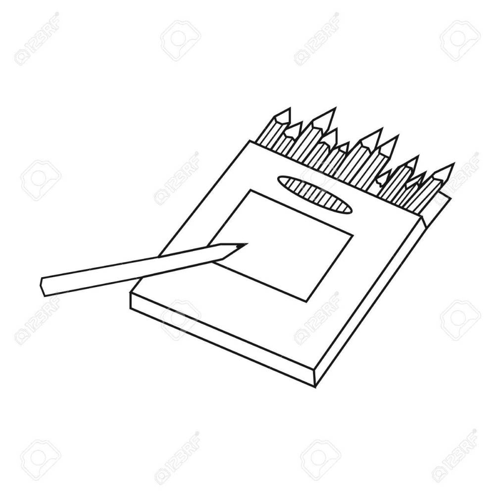 medium resolution of colored pencils for drawing in box icon in outline style isolated on white background artist