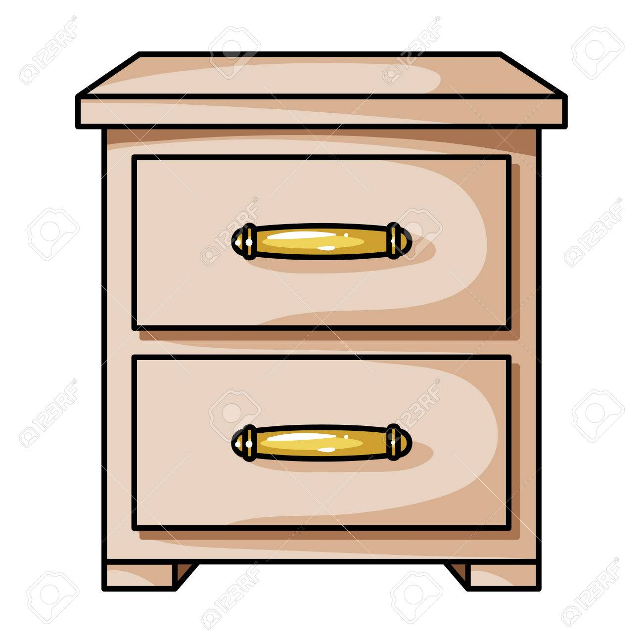 table de chevet icone dans le style de dessin anime isole sur fond blanc meubles et symbole interieur maison illustration vectorielle