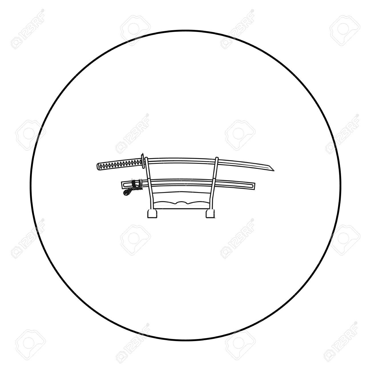 hight resolution of foto de archivo icono de katana en estilo de contorno aislado sobre fondo blanco ilustraci n de vector stock jap n s mbolo