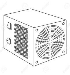 power supply unit icon in outline style isolated on white background personal computer accessories symbol [ 1300 x 1300 Pixel ]
