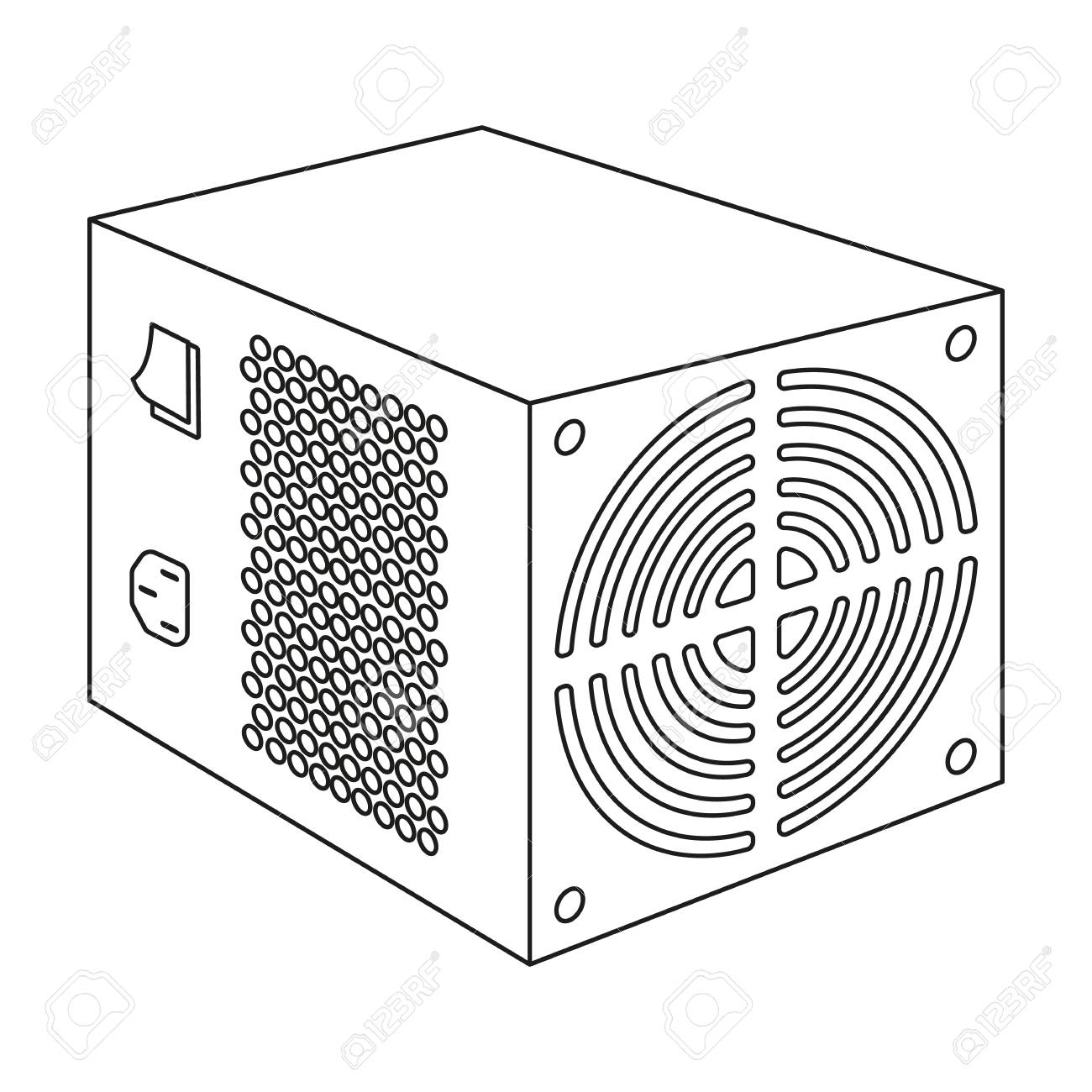hight resolution of power supply unit icon in outline style isolated on white background personal computer accessories symbol