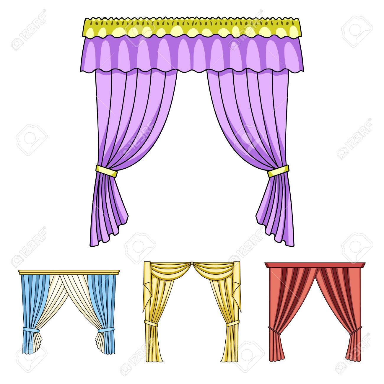 differents types de rideaux de fenetre les icones de collecte de set de boites dans l illustration de stock de symbole de vecteur de dessin anime