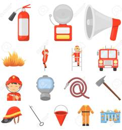 fire department cartoon icons in set collection for design stock vector 92277960 [ 1300 x 1300 Pixel ]