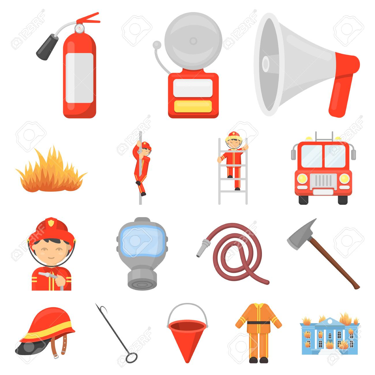 hight resolution of fire department cartoon icons in set collection for design stock vector 92277960