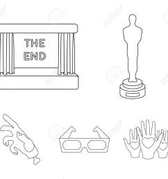 award oscar movie screen 3d glasses films and film set collection icons in [ 1300 x 1137 Pixel ]