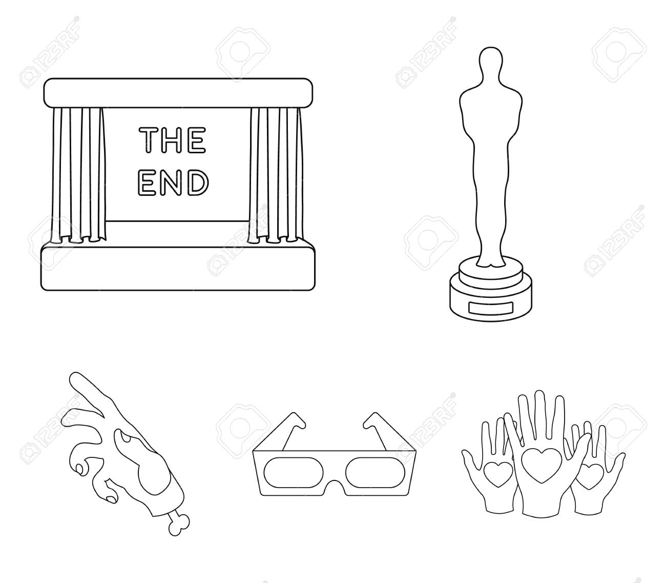 hight resolution of award oscar movie screen 3d glasses films and film set collection icons in