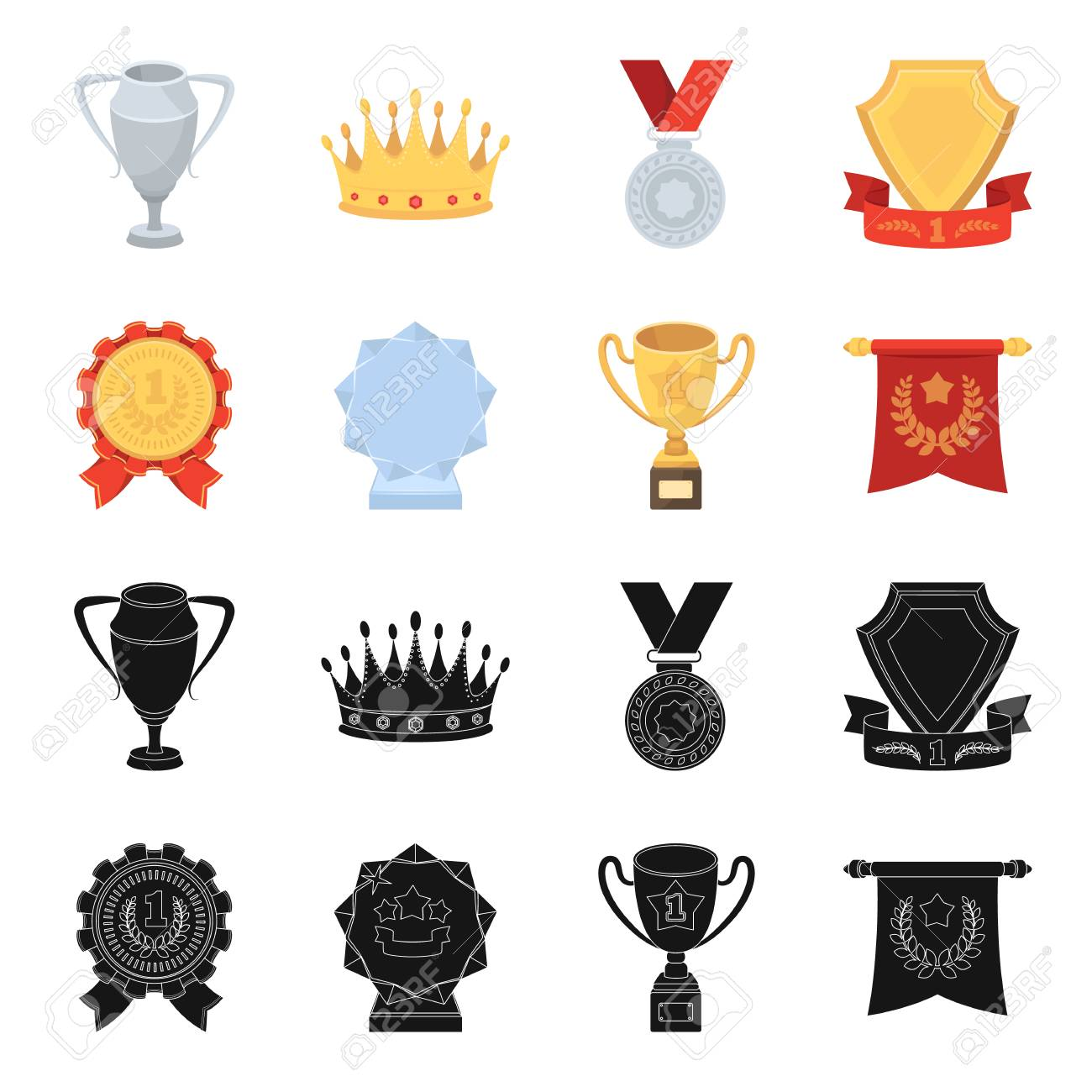 hight resolution of an olympic medal for the first place a crystal ball a gold cup on a stand a red pendant awards and trophies set collection icons in black cartoon style