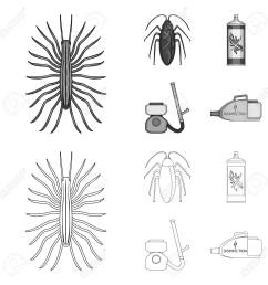 cockroach and equipment for disinfection outline monochrome icons in set collection for design pest [ 1300 x 1300 Pixel ]