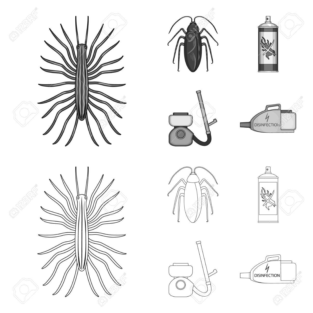 hight resolution of cockroach and equipment for disinfection outline monochrome icons in set collection for design pest