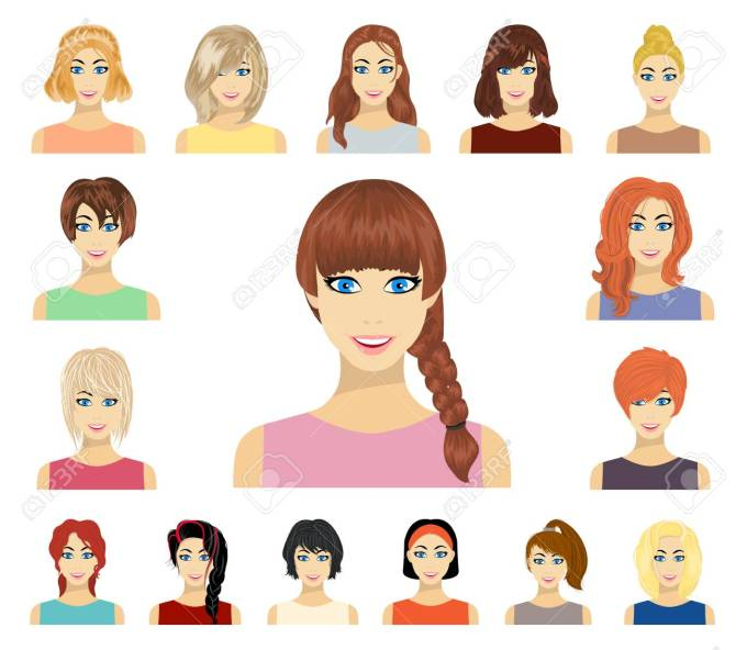 types of female hairstyles cartoon icons in set collection for..