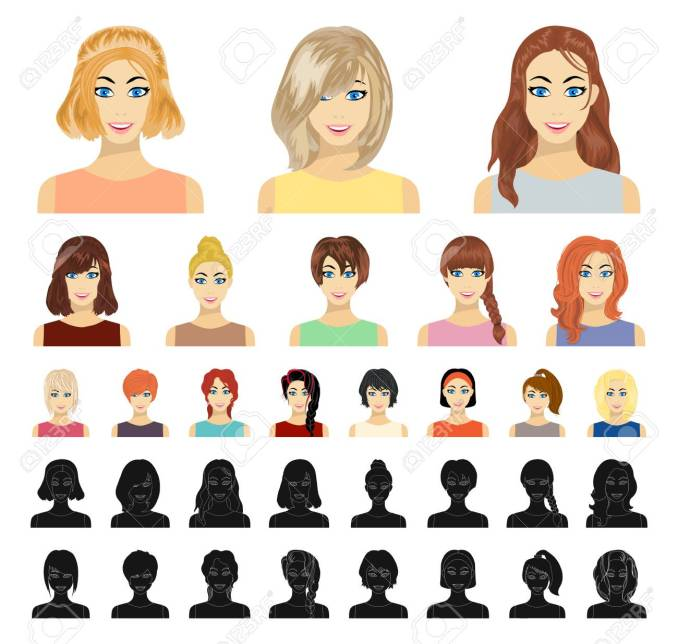 types of female hairstyles cartoon, black icons in set collection..