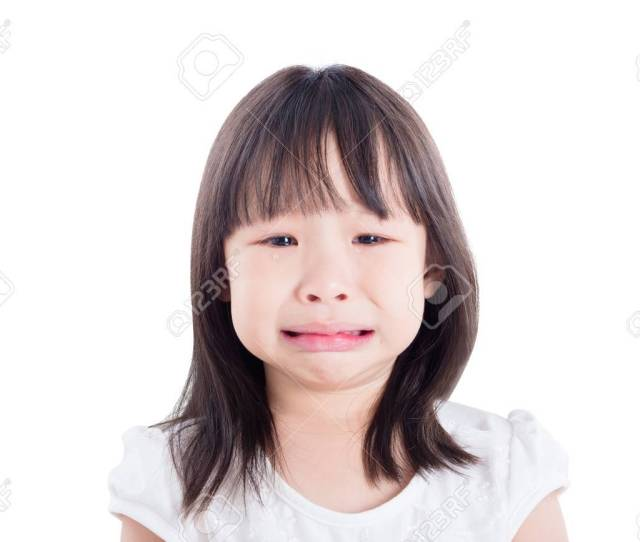 Little Asian Girl Crying Over White Background Stock Photo 88210040