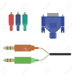 aux vga component cable on the white background vector illustrationaux vga component cable on the white [ 1300 x 1300 Pixel ]