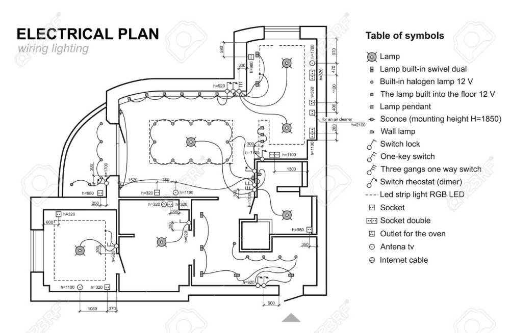 medium resolution of plan wiring lighting electrical schematic interior set of standard icons electrical symbols for