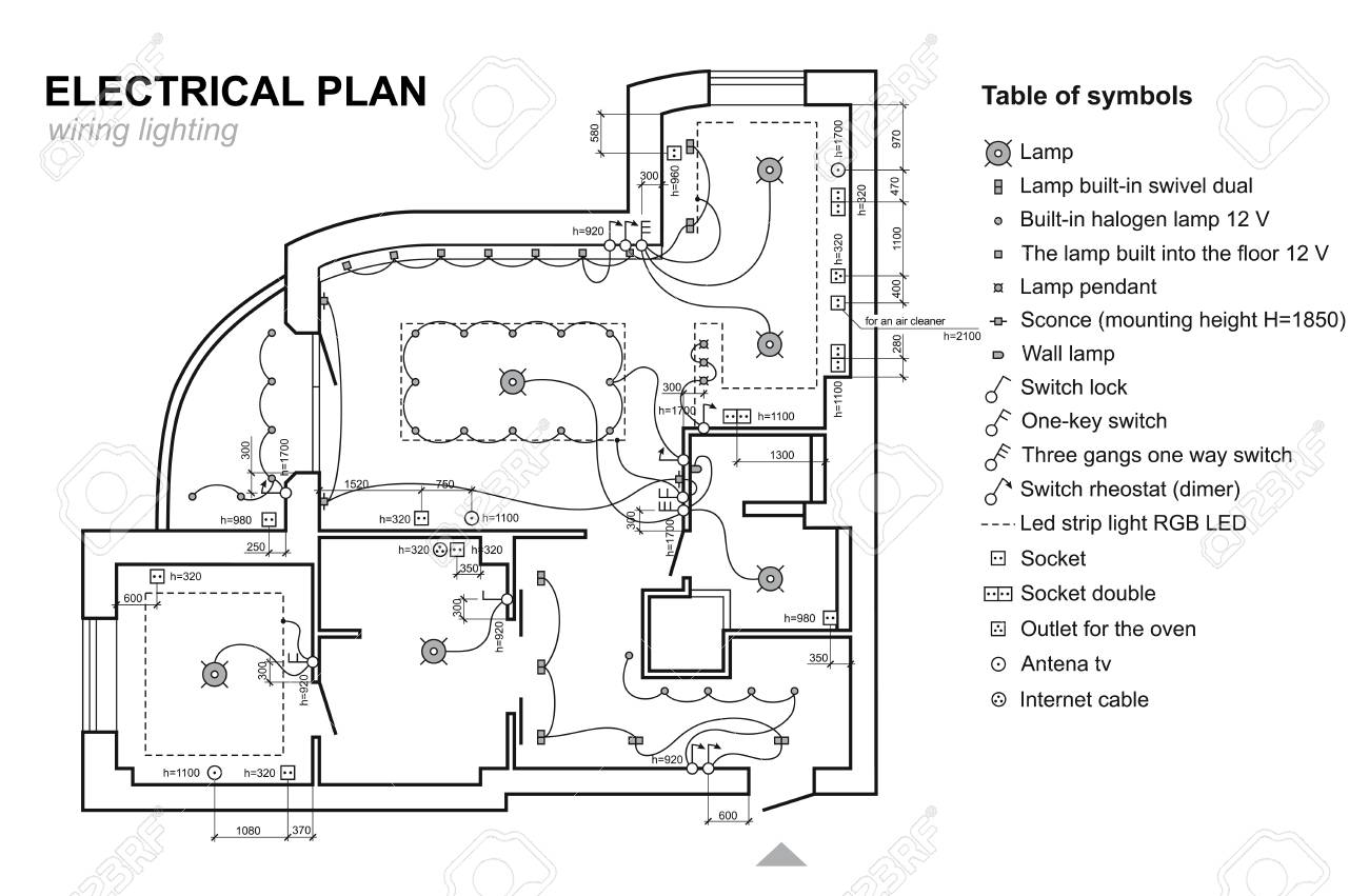 hight resolution of plan wiring lighting electrical schematic interior set of standard icons electrical symbols for