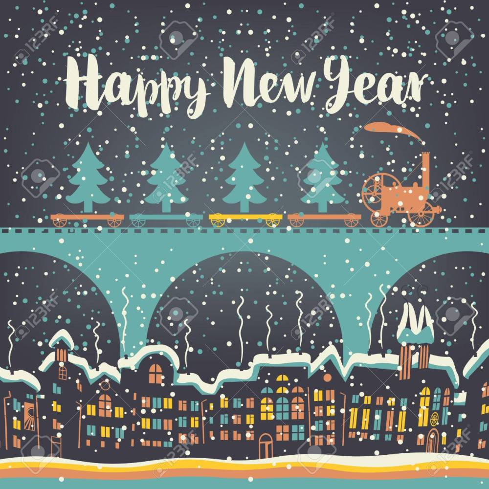 medium resolution of christmas card with a vintage steam train rides on the bridge over the old city in