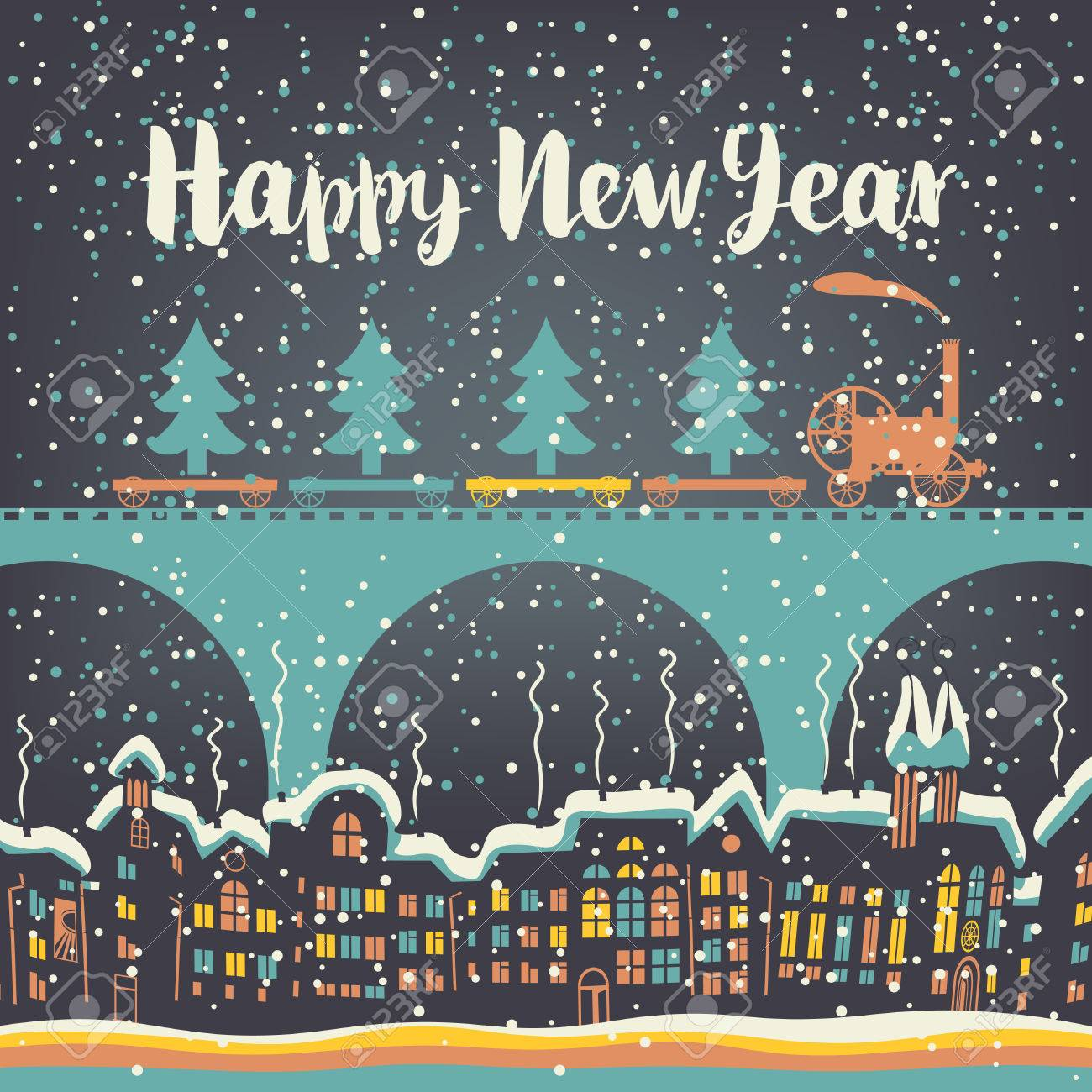 hight resolution of christmas card with a vintage steam train rides on the bridge over the old city in