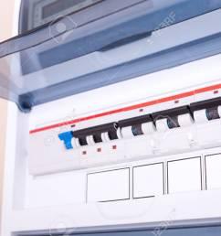rcd circuit breaker board fusebox at the apartment nobody stock photo 108443938 [ 1300 x 866 Pixel ]