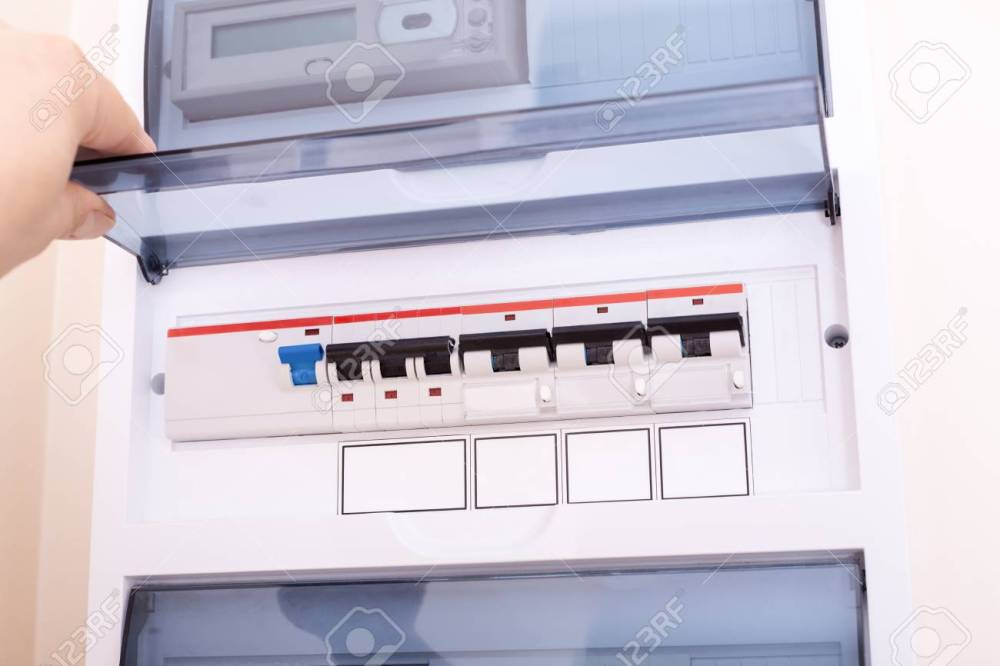 medium resolution of rcd circuit breaker board fusebox at the apartment stock photorcd circuit breaker board fusebox at the