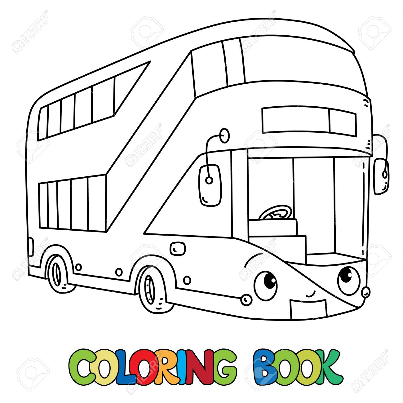 London Modern Double Decker Bus Coloring Book For Kids Small Royalty Free Cliparts Vectors And Stock Illustration Image 111803840