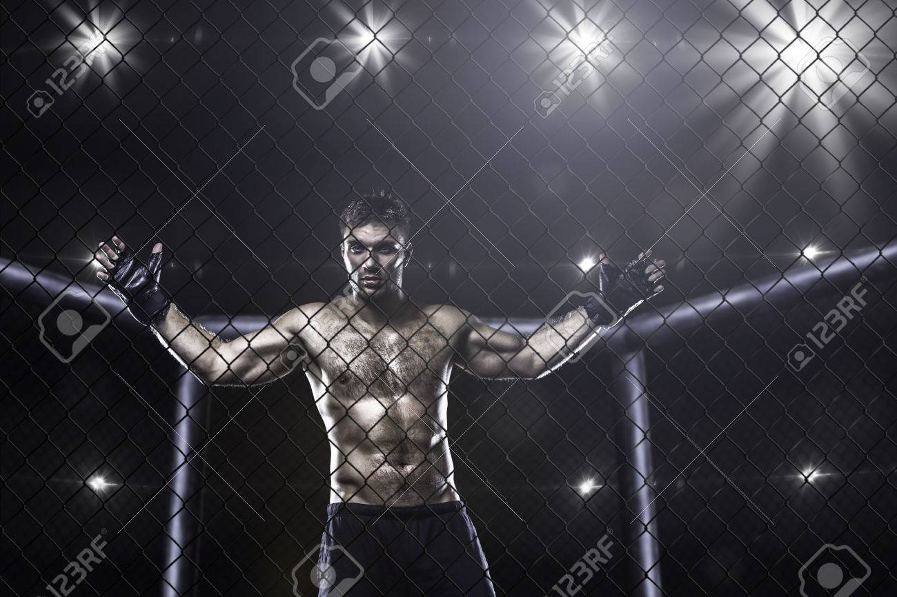 fighter in mma cage
