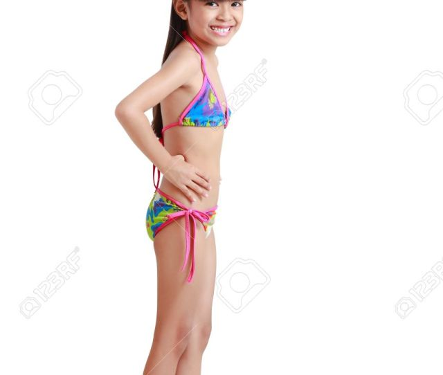 Little Asian Girl Wearing Swimsuit Isolated Over White Stock Photo 19609835
