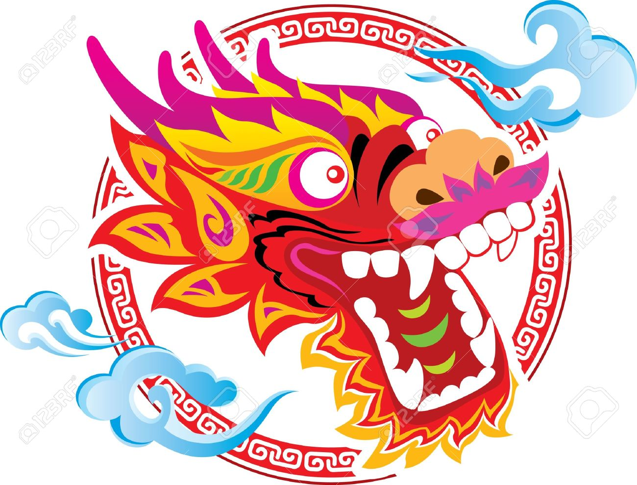 color chinese dragon head