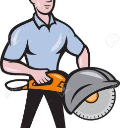 illustration of a construction worker with concrete saw consaw done in cartoon style stock vector  [ 897 x 1300 Pixel ]