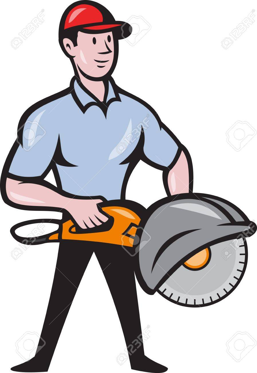 hight resolution of illustration of a construction worker with concrete saw consaw done in cartoon style stock vector