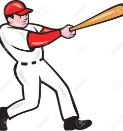 illustration of an american baseball player batter hitter batting with bat done in cartoon style isolated [ 1300 x 1287 Pixel ]