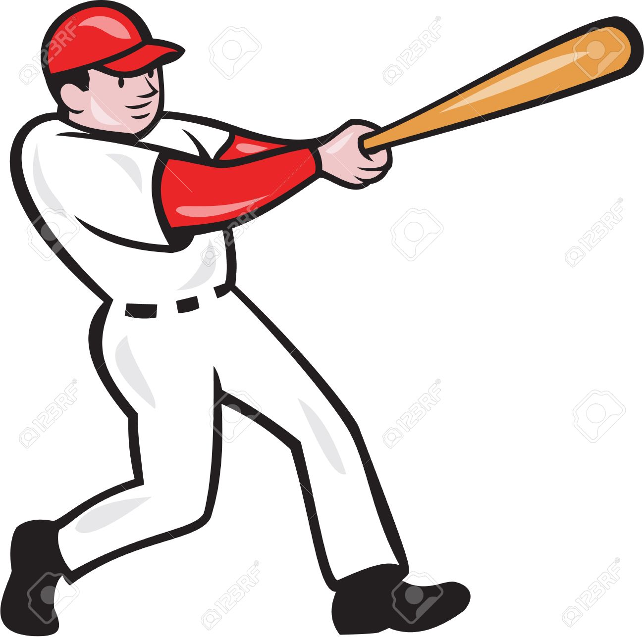 hight resolution of illustration of an american baseball player batter hitter batting with bat done in cartoon style isolated