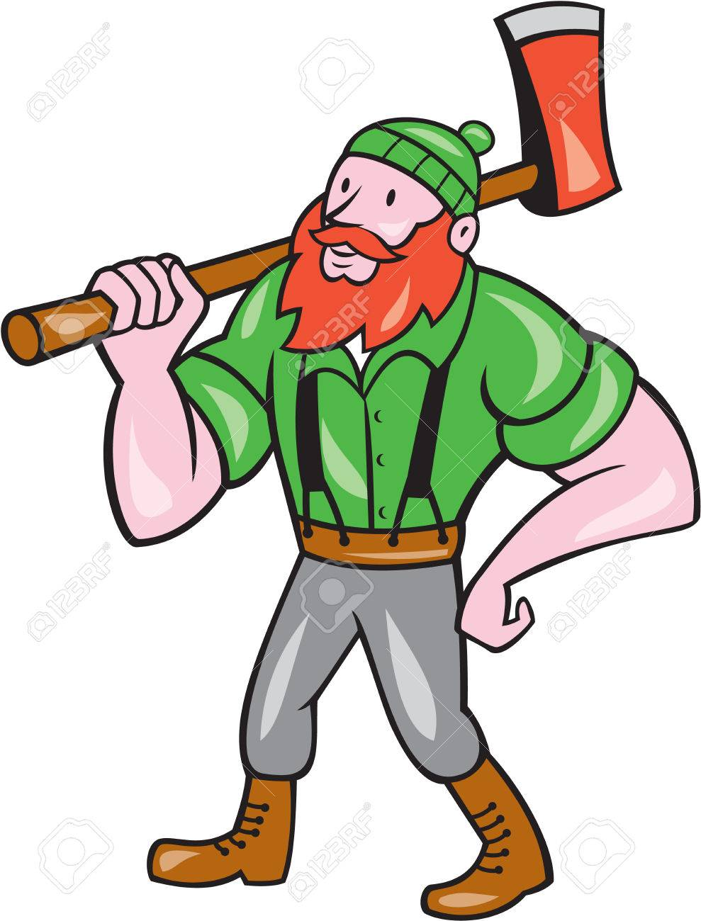 medium resolution of illustration of a paul bunyan an american lumberjack sawyer forest holding an axe on shoulder looking