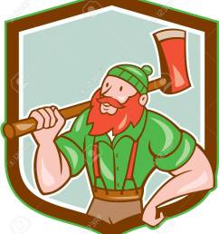 illustration of a paul bunyan an american lumberjack sawyer forest holding an axe on shoulder looking [ 1123 x 1300 Pixel ]
