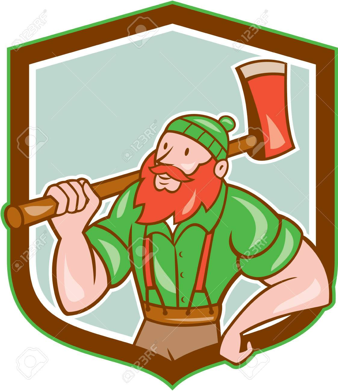 hight resolution of illustration of a paul bunyan an american lumberjack sawyer forest holding an axe on shoulder looking