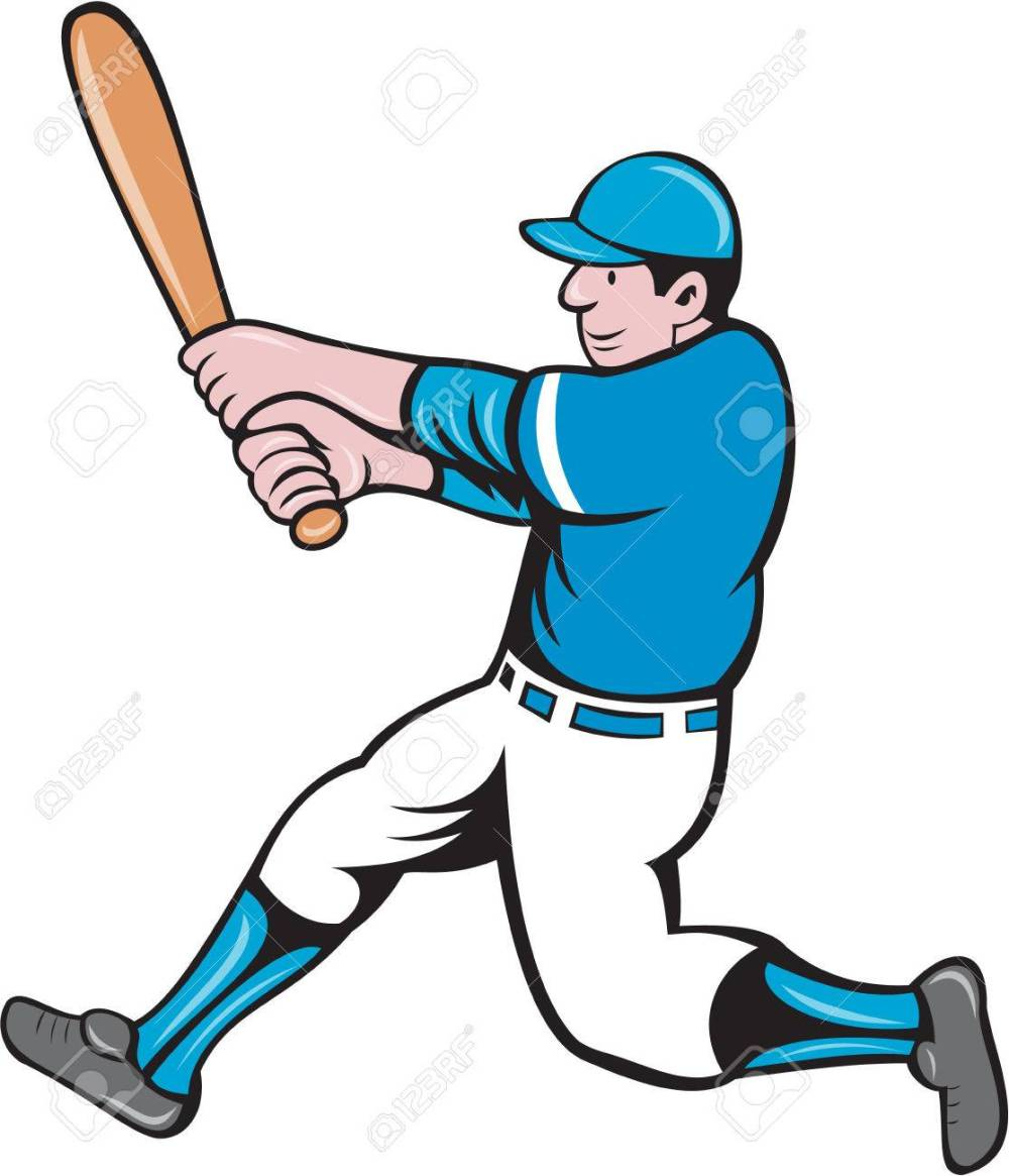 medium resolution of illustration of an american baseball player batter holding bat batting swinging bat viewed from the side