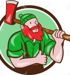 illustration of a paul bunyan an american lumberjack sawyer forest carrying axe on shoulder thumbs up [ 1300 x 1197 Pixel ]