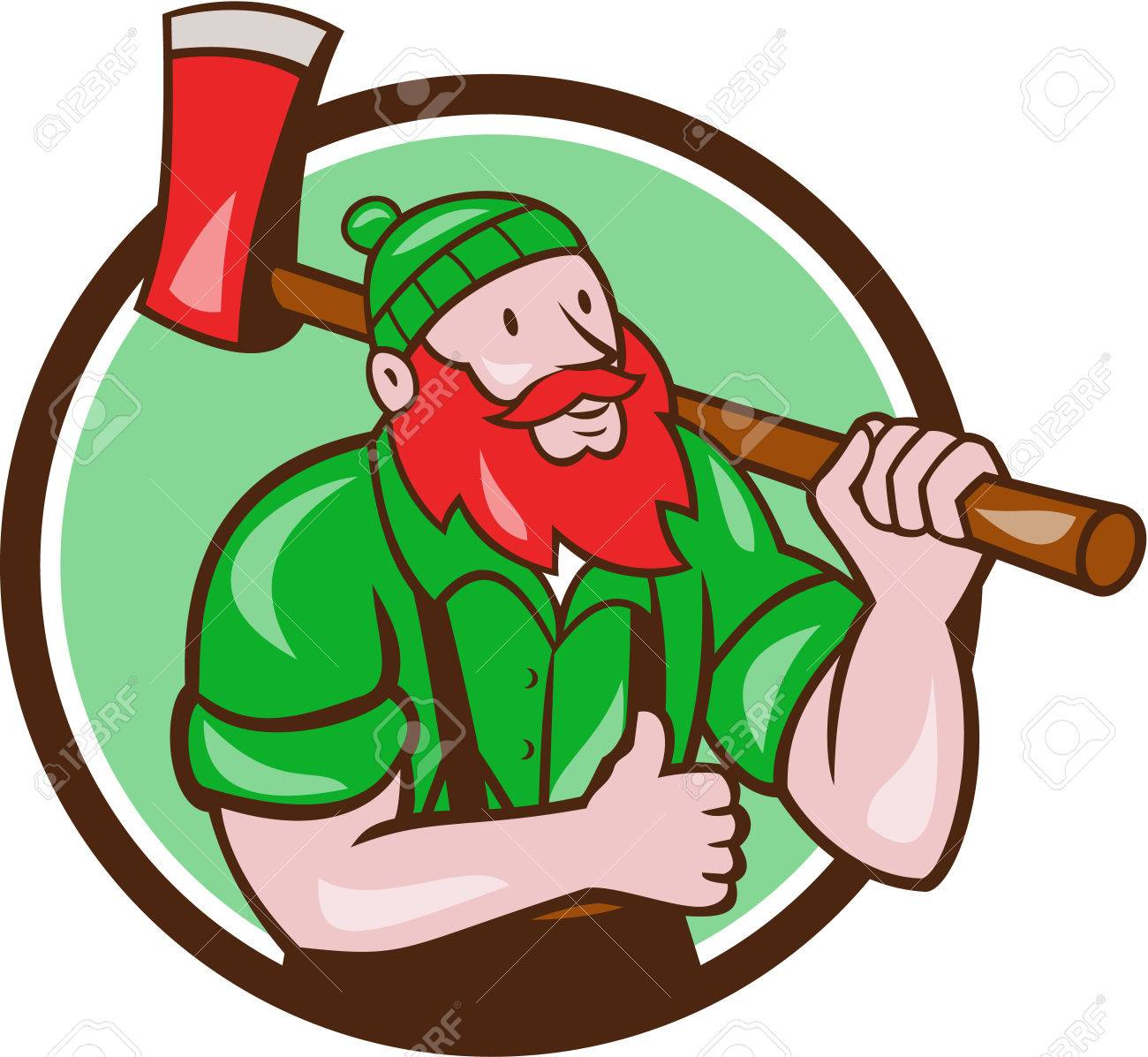hight resolution of illustration of a paul bunyan an american lumberjack sawyer forest carrying axe on shoulder thumbs up