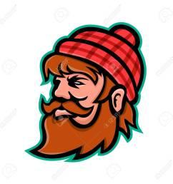 mascot icon illustration of head of paul bunyan a giant lumberjack in american folklore viewed [ 1300 x 1300 Pixel ]