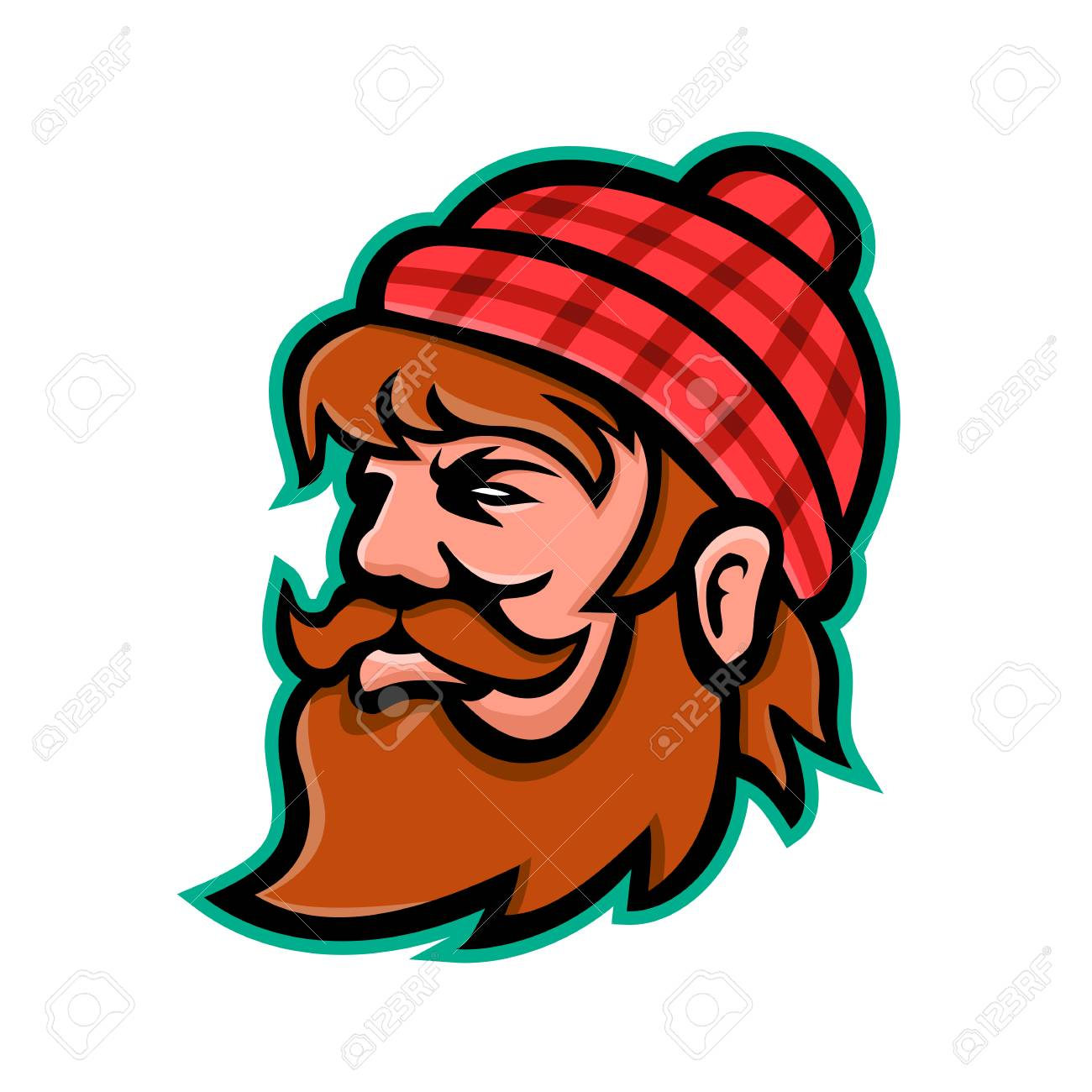 hight resolution of mascot icon illustration of head of paul bunyan a giant lumberjack in american folklore viewed