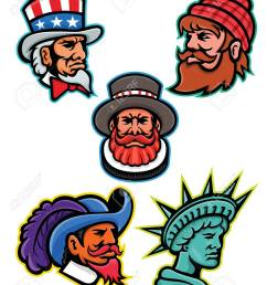 mascot icon illustration set of heads of american and british mascots such as uncle sam paul bunyan lumberjack beefeater or yeoman cavalier or musketeer  [ 1009 x 1300 Pixel ]