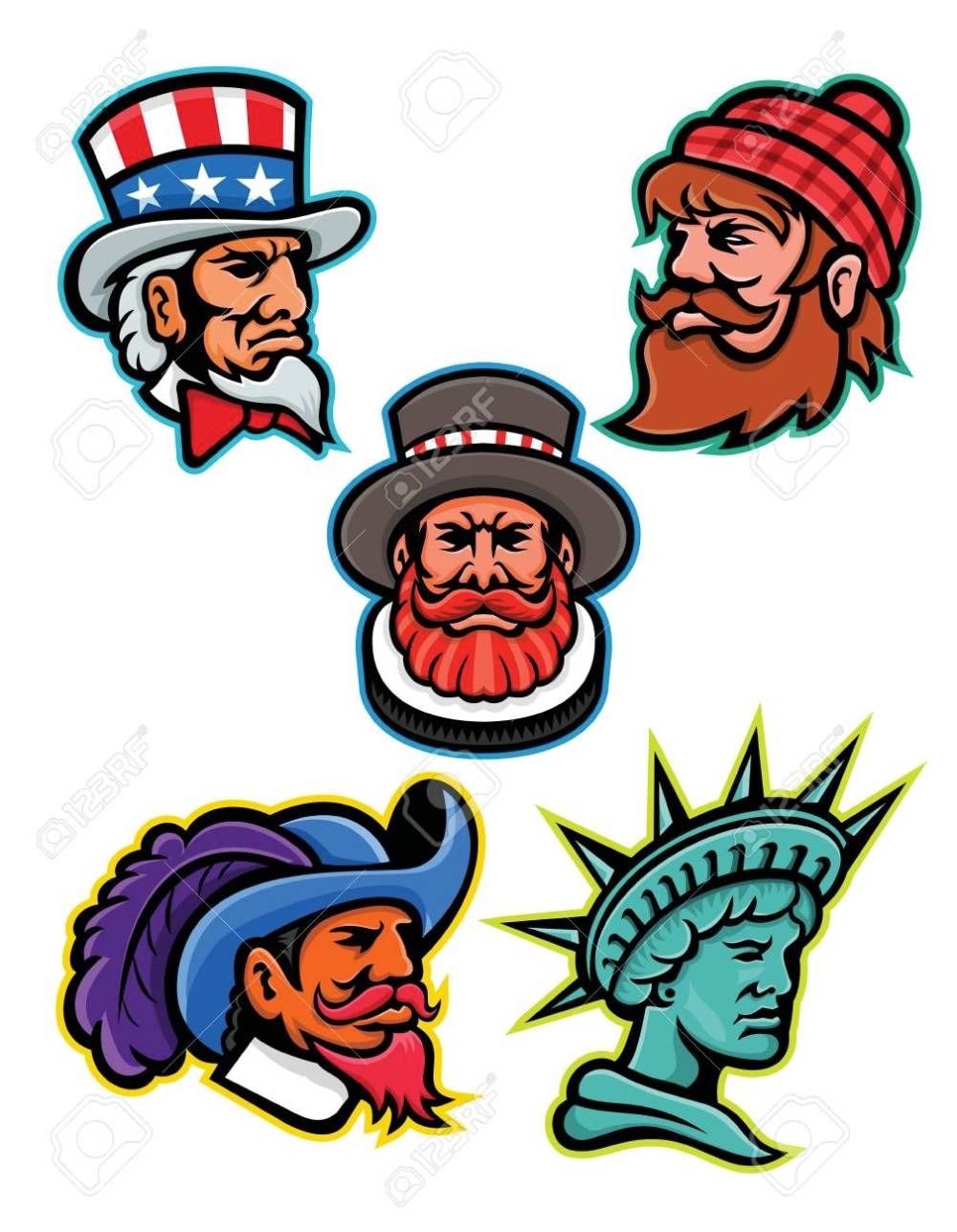 medium resolution of mascot icon illustration set of heads of american and british mascots such as uncle sam paul bunyan lumberjack beefeater or yeoman cavalier or musketeer