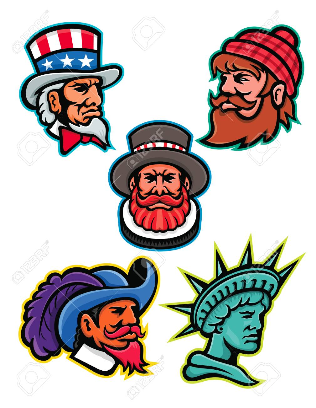 hight resolution of mascot icon illustration set of heads of american and british mascots such as uncle sam paul bunyan lumberjack beefeater or yeoman cavalier or musketeer