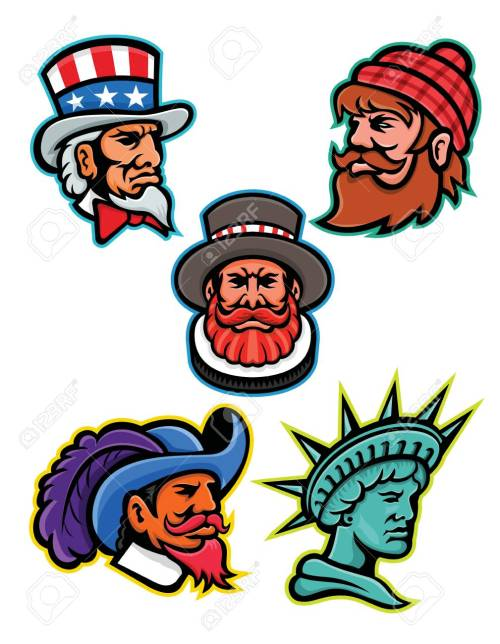 small resolution of mascot icon illustration set of heads of american and british mascots such as uncle sam paul bunyan lumberjack beefeater or yeoman cavalier or musketeer